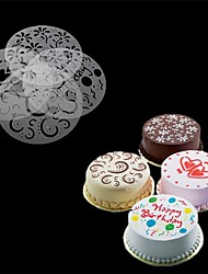 4Pcs/Set   Eco Friendly High Quality 4 Styles Flower Heart Spray Stencils Birthday Cake Mold Decorating Bakery Tools DIY