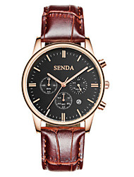 Men's Fashion Watch Quartz Leather Band Brown