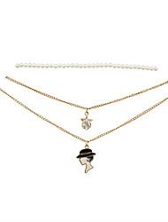 Fashion Women Trendy  Choker Woman Head Pendant Necklace Set
