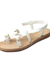 Women's Sandals Summer Mary Jane Leatherette Outdoor Dress Casual Low Heel Imitation Pearl Black White Walking