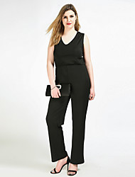 Really Love Women's High Rise Work Party Going out Casual/Daily Club Holiday Jumpsuits,Sexy Vintage Simple Straight Slim Pure Color Solid All Seasons