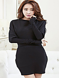 Women's Casual/Daily Party Sexy Cute Bodycon Dress,Solid Striped Peter Pan Collar Above Knee Long Sleeve Cotton Spring Fall High Rise