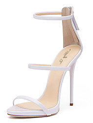 Women's Sandals With Three Straps 2017 White Shiny Patent High Heel Wedding Shoes Sxey Sandals Ladies Gladiator Heels Stilettos Plus Size
