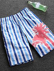 Homme simple Taille Normale Micro-élastique Short Pantalon,Ample Imprimé Rayé