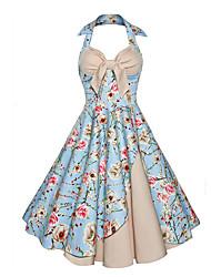 Mujer Corte Swing Vestido Fiesta Noche Vintage Sofisticado,Estampado Halter Hasta la Rodilla Sin Mangas Rayón PoliésterPara Todas las