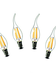 4.5W E14 Luces LED en Vela CA35 6 COB 500 lm Blanco Cálido Decorativa AC 100-240 V 4 piezas