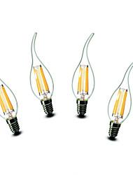 ® Shenmeile 4.5W E14 LED Candle Lights CA35 6 COB 500 lm Warm White Decorative AC 220-240 V 4 pcs
