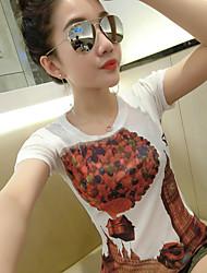 Damen Blumen Einfach Lässig/Alltäglich T-shirt,Rundhalsausschnitt Sommer Kurzarm Leinen