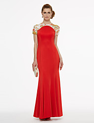 Mermaid / Trumpet Jewel Neck Ankle Length Chiffon Lace Mother of the Bride Dress with Embroidery Pleats by LAN TING BRIDE®