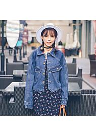 Feminino Jaqueta jeans Para Noite Simples Primavera,Sólido Padrão Others Colarinho Chinês Manga Longa