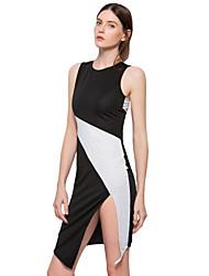 Feminino Evasê Bainha Vestido,Para Noite Casual Simples Moda de Rua Estampa Colorida Decote Redondo Assimétrico Sem MangaAlgodão