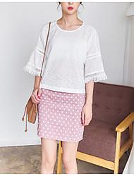 Dames Eenvoudig T-shirt,Uitgaan Effen Ronde hals Driekwart mouw Polyester