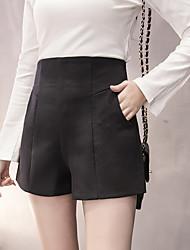 Femme Vintage simple Taille Haute strenchy Short Pantalon,Ample Couleur Pleine