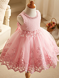 Ball Gown Short / Mini Flower Girl Dress - Organza Jewel with Flower(s) Lace