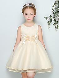 Ball Gown Short / Mini Flower Girl Dress - Cotton Organza Satin Jewel with Bow(s) Flower(s) Sash / Ribbon