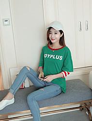 Damen Gestreift Einfach Lässig/Alltäglich T-shirt,Rundhalsausschnitt Langarm Andere