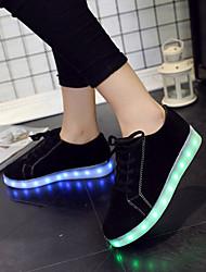Feminino-Tênis-Solados com Luzes Light Up Shoes-Rasteiro-Preto Vermelho-Courino-Casamento Ar-Livre Escritório & Trabalho Social Casual