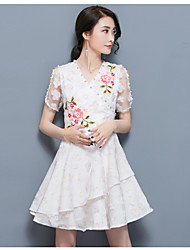 Women's Casual/Daily A Line Dress,Floral V Neck Above Knee Short Sleeve Polyester Spring Summer High Rise Micro-elastic Thin