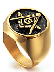 Statementringe Ring Modisch Punkstil individualisiert Hip-Hop Rock Euramerican Titanstahl Geometrische Form Gold Schmuck FürParty