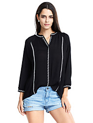 Women's Going out / Casual/Daily Simple / Boho / Street chic Spring / Fall ShirtSolid / Embroidered V Neck Long Sleeve