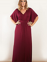 Women's Casual/Daily Party Loose Shift Dress,Solid Deep V Maxi ½ Length Sleeve Cotton Summer High Rise Micro-elastic Thin