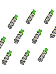 10Pcs T10 13*5050 SMD LED Car Light Bulb Green Light DC12V