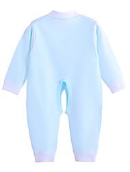 Une-Pièce bébé Couleur Pleine Imprimé Coton Toutes les Saisons Manches longues