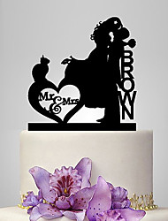 Personalized Acrylic Bride And Groom Kissing Wedding Cake Topper