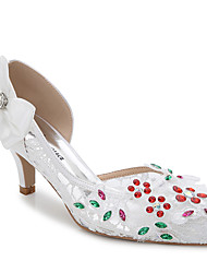 Women's Sandals Summer Fall Club Shoes Silk Wedding Outdoor Office & Career Party & Evening Dress Casual Stiletto HeelRhinestone Applique