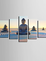 E-HOME Stretched Canvas Art Buddha Sitting on A Sand Table Decoration Painting Set Of 5