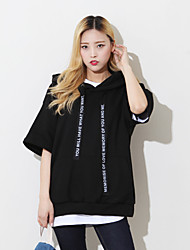 Women's Casual/Daily Hoodie Solid Letter V Neck Micro-elastic Cotton Short Sleeve