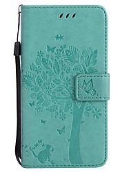 Назначение Чехлы панели Кошелек Бумажник для карт со стендом Флип Рельефный С узором Чехол Кейс для Кот дерево Твердый Искусственная кожа