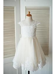 Un vestito dalla ragazza del fiore della lunghezza del ginocchio-merletto del merletto del merletto del merletto con la perline