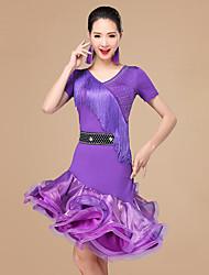 Debemos vestidos de danza latina mujeres poliéster rhinestones volantes 2 piezas