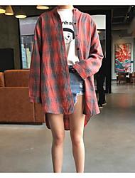 Feminino Camisa Social Casual SimplesXadrez Algodão Colarinho Chinês Manga Longa