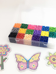 Approx 5400PCS 18 Color 5MM Fuse Beads Set with 3PCS Random Mixed Shape Template Clear Pegboard Flower Bee Butterfly DIY Jigsaw(Set A 18*300PCS)