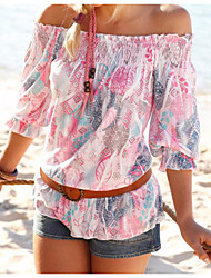 Women's Casual/Daily Simple Blouse,Print Boat Neck ½ Length Sleeve Polyester Thin