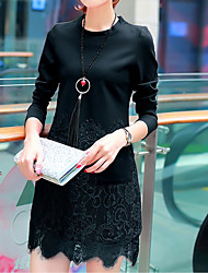 Dress female autumn 2016 Hitz Korean version of the long section was thin long-sleeved dress women Slim lace skirt bottoming