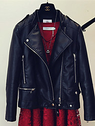 Women's Going out Casual/Daily Party/Cocktail Street chic Summer Leather Jacket,Solid Stand Short PU
