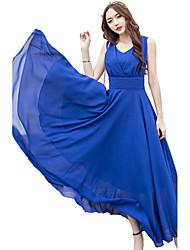 Для женщин Для вечеринок Праздники Большие размеры Простое Панк & Готика С летящей юбкой Платье Однотонный,V-образный вырез Средней длины