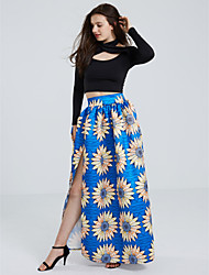 Women's Boho Floral Printed High Split Maxi Skirt