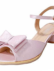 Women's Sandals Summer Comfort PU Outdoor Low Heel Buckle Ribbon Tie Blushing Pink White Walking