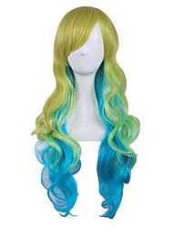 Three Tone Color Gradietn Colorful Wig High Temperature Cosplay Lovely Lolita Wig Long Length Body Wave Harajuku Style