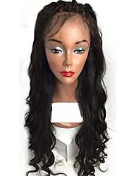 Hot style loose wave cheveux en dentelle en laine pleine cheveux en dentelle avec des cheveux de bébé top brème brune plumes en dentelle