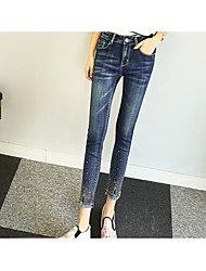 Women's Mid Rise Micro-elastic Jeans Pants,Street chic Simple Slim Solid