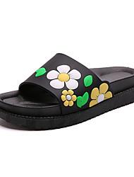Women's Slippers & Flip-Flops Summer Mary Jane Leatherette Dress Casual Flat Heel Flower Green Red Purple Walking