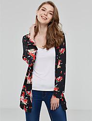 Kimono Jacket Femme,Fleur Sortie Travail simple Rétro Automne Hiver Manches longues Revers Cranté Normal Polyester Nylon