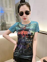 T-shirt Da donna Casual SempliceCon stampe Rotonda Poliestere Manica corta