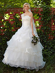 Ball Gown Princess Wedding Dress Vintage Inspired Floor-length One Shoulder Organza with Appliques Beading Flower Pick-Up Tiered