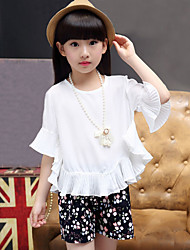 Girls' Fashion And Lovely Snow Spins The Bat Sleeve T-Shirt Coat  Small Broken Flower Shorts Two-Piece Dress